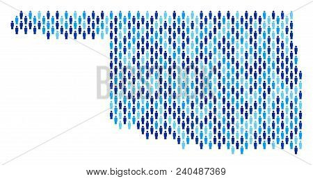 Population Oklahoma State Map. Demography Vector Pattern Of Oklahoma State Map Composed Of Crowd Ele