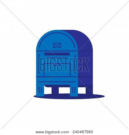 Big Ground Mail Box With Envelope Sign And Shadow. Blue Mail Box Or Postal Service Container. Flat S