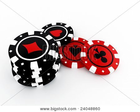 High resolution image isolated chips on white. 3d illustration.