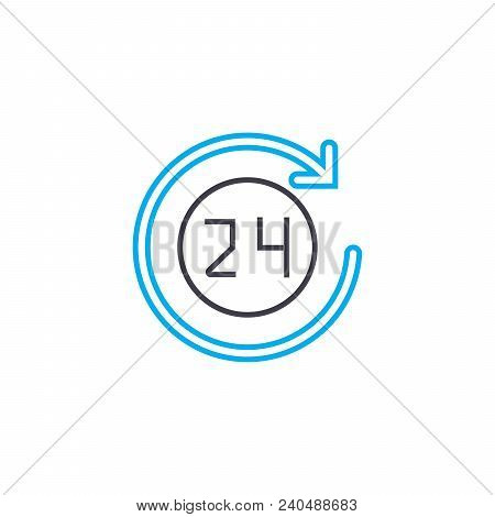 24 Hours Work Vector Thin Line Stroke Icon. 24 Hours Work Outline Illustration, Linear Sign, Symbol