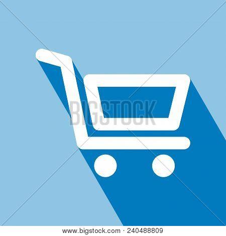 Shopping Cart Icon. Flat Design Style. Shopping Cart Icon With Long Shadow. Shopping Cart Icon On Bl