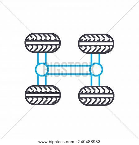4wd Transmission Vector Thin Line Stroke Icon. 4wd Transmission Outline Illustration, Linear Sign, S