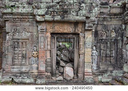 Artwork Detail Of Ancient Preah Khan Temple In Angkor, Cambodia