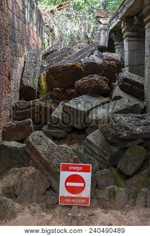 Ruins Of Ancient Preah Khan Temple In Angkor On Cambodia