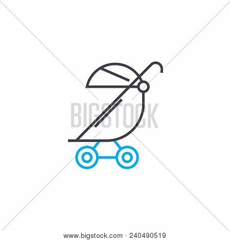 Baby Carriage Vector Thin Line Stroke Icon. Baby Carriage Outline Illustration, Linear Sign, Symbol