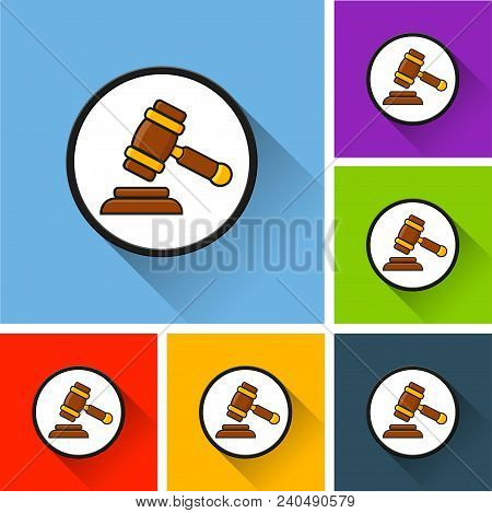 Illustration Of Judgment Icons With Long Shadow