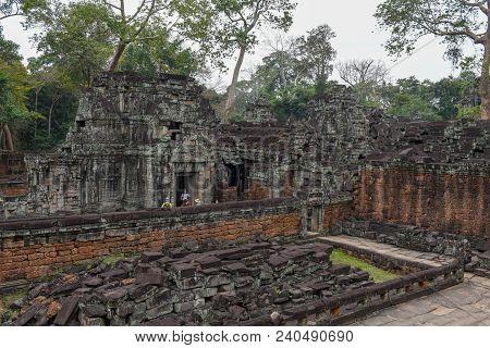 Ancient Preah Khan Temple In Angkor. Siem Reap, Cambodia