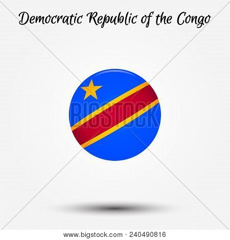 Flag Of Democratic Republic Of The Congo Icon. Vector Illustration. World Flag