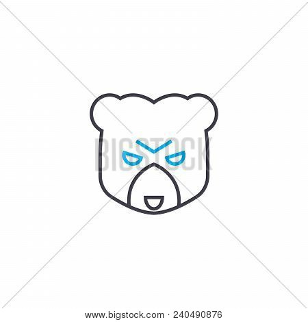 Bear Market Vector Thin Line Stroke Icon. Bear Market Outline Illustration, Linear Sign, Symbol Isol