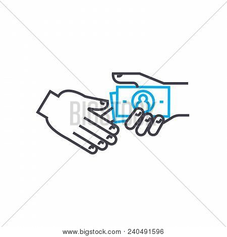Bribe Taking Vector Thin Line Stroke Icon. Bribe Taking Outline Illustration, Linear Sign, Symbol Is