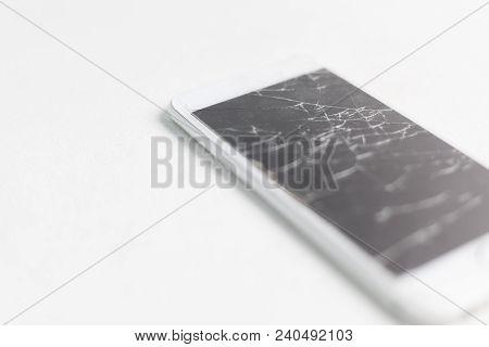 Broken Mobile Phone Screen, Scattered Shards. Smartphone Monitor Damage Mock Up. Cellphone Crash And