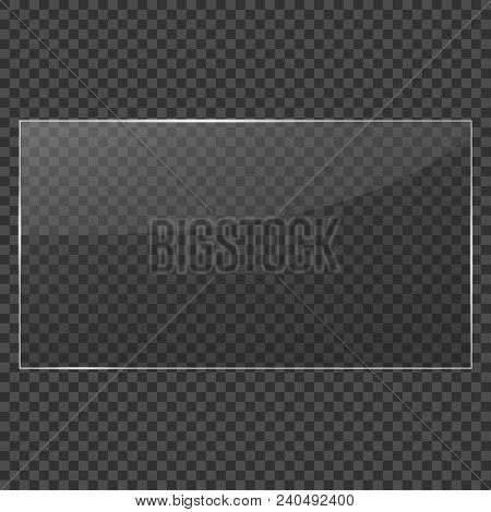 Glass Frame. Realistic Clear Glass On Transparent Background. Isolated Vector Glass. Vector Illustra
