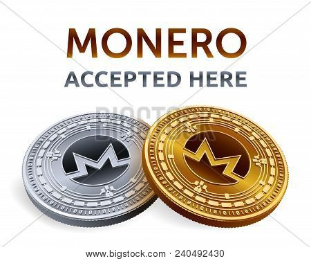 Monero. Accepted Sign Emblem. Crypto Currency. Golden And Silver Coins With Monero Symbol Isolated O