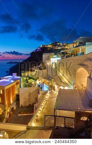 Thera town in Santorini at night, Greece