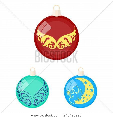 Balls For Decoration Cartoon Icons In Set Collection For Design.christmas Balls Vector Symbol Stock