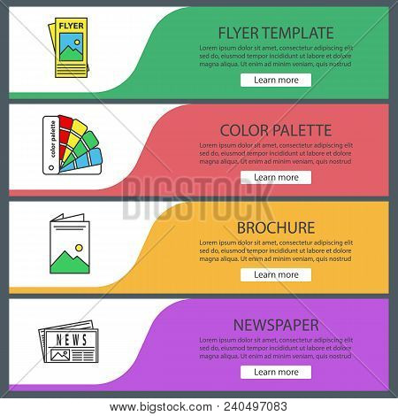 Printing Web Banner Templates Set. Polygraphy And Typography. Flyer Template, Color Palette, Brochur