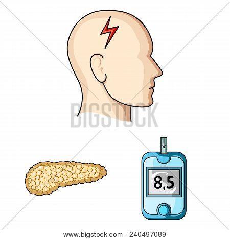 Diabetes Cartoon Icons In Set Collection For Design. Treatment Of Diabetes Vector Symbol Stock  Illu