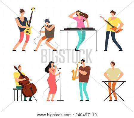 Music Band Musicians With Musical Instruments Playing Music On Stage Vector Set Isolated. Concert Gr