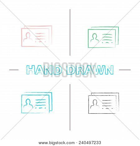 Business Card Template Hand Drawn Icons Set. Color Brush Stroke. Isolated Vector Sketchy Illustratio