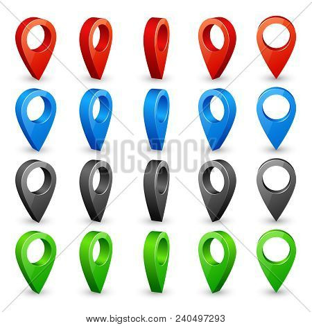 Color 3d Map Pins. Place Location And Destination Icons. Navigation Pin Pointers Vector Symbols Isol