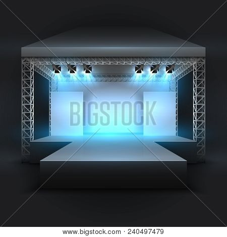 Empty Music Show Stage With Spotlights Beams. Concert Performance Podium Vector Backdrop. Illustrati
