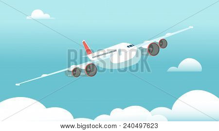 Airplane In Flight With White Clouds And Blue Sky Background. Vector Illustration. Air Plane And Air