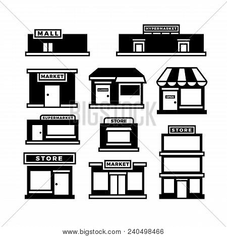 Mall And Shop Building Icons. Shopping And Retail Pictograms. Supermarket, Store Exterior Vector Bla