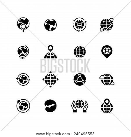 Global Communication, Globe And Geography Icons. Earth Planet, World Map And Travel Simple Vector Sy