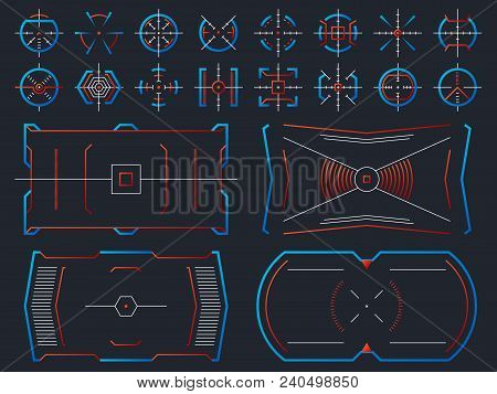 Futuristic Hightech Virtual Screen Design. Computer Systems Hud Panel With Tracking Aim Frames Vecto
