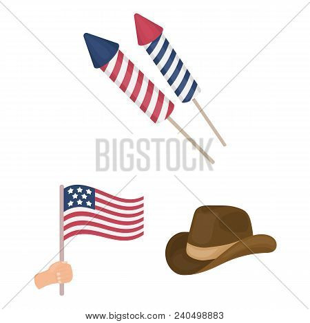 Day Of Patriot, Holiday Cartoon Icons In Set Collection For Design. American Tradition Vector Symbol