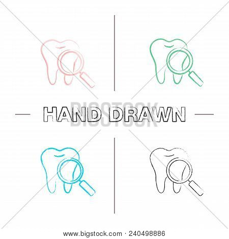 Teeth Medical Check Hand Drawn Icons Set. Color Brush Stroke. Tooth With Magnifying Glass. Isolated