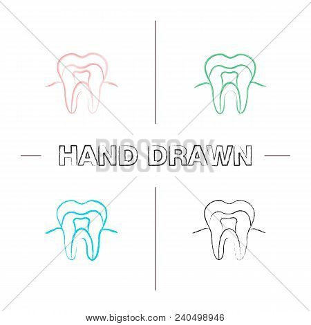 Tooth Anatomical Structure Hand Drawn Icons Set. Tooth Root And Crown. Dentin, Enamel, Pulp. Stomato