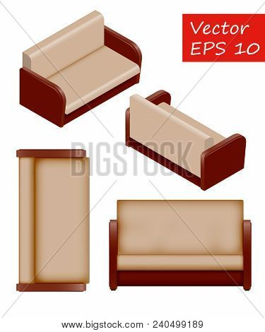 Set Of Isolated Isometric Sofa. Vector Sofa. It's Easy To Change The Color Of The Sofa. Sofa For Int