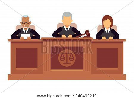Federal Supreme Court With Judges. Jurisprudence And Law Vector Concept. Illustration Of Legal Court