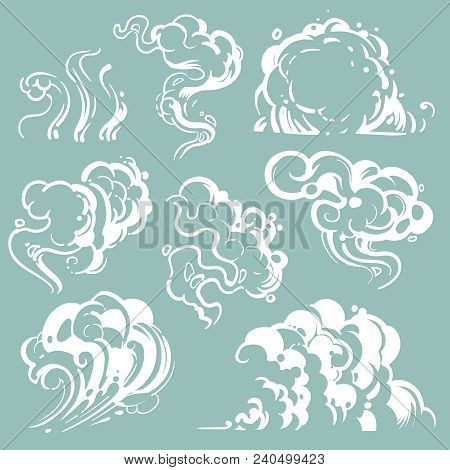 Cartoon White Smoke And Dust Clouds. Comic Vector Steam Isolated. Line Cartoon Cloud Dust And Fog, E