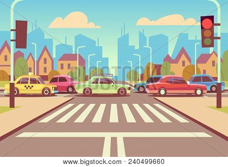 Cartoon City Crossroads With Cars In Traffic Jam, Sidewalk, Crosswalk And Urban Landscape Vector Ill