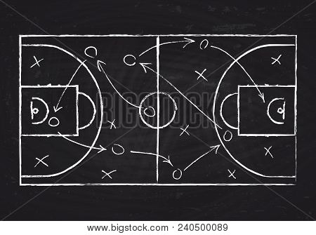 Chalkboard With Basketball Court And Game Strategy Scheme. Vector Illustration. Sport Instruction Bl