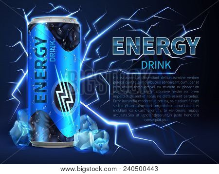 Energy Drink Can Surrounded Of Electrical Discharges And Sparks On Dark Blue. Packaging Advertising