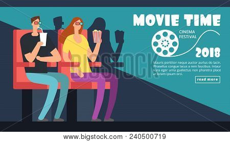 Film Cinema Festival Poster. Movie Time, Couple Date At Theater Vector Background. Illustration Of F