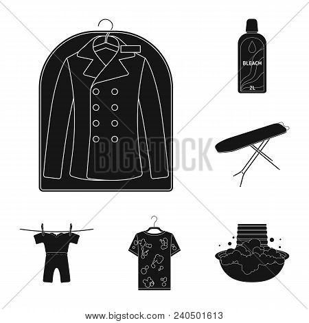 Dry Cleaning Equipment Black Icons In Set Collection For Design. Washing And Ironing Clothes Vector
