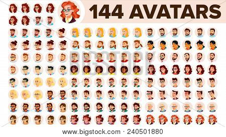 People Avatar Set Vector. Man, Woman. Human Emotions. Anonymous Male, Female. Icon Placeholder. Pers