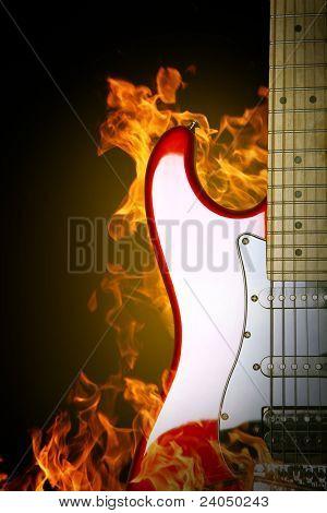 Fire electric guitar.