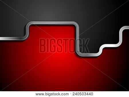 Contrast Red And Black Technology Background With Metallic Stripe. Vector Illustration