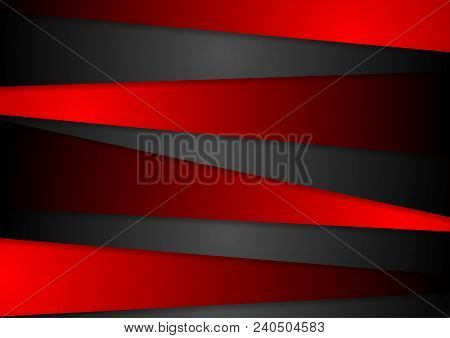 Contrast Red And Black Tech Corporate Background. Abstract Vector Design Template