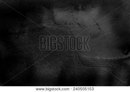 Black Gray Water Surface Background In Grunge Style. Abstract Dashed, Scratched, Vintage Effect With