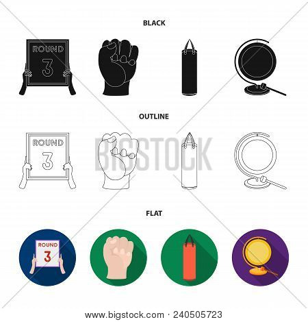 Boxing, Sport, Round, Hand .boxing Set Collection Icons In Black, Flat, Outline Style Vector Symbol