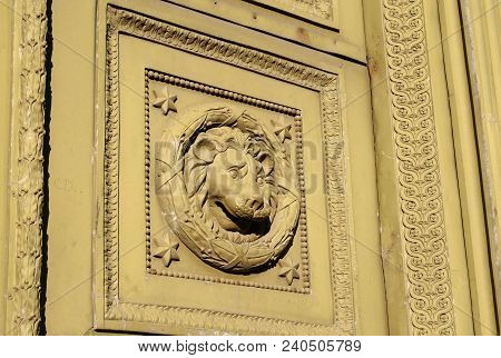 Old Bas-relief With The Head Of A Lion In Saint Petersburg, Russia.