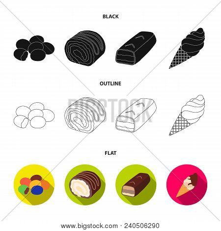 Dragee, Roll, Chocolate Bar, Ice Cream. Chocolate Desserts Set Collection Icons In Black, Flat, Outl