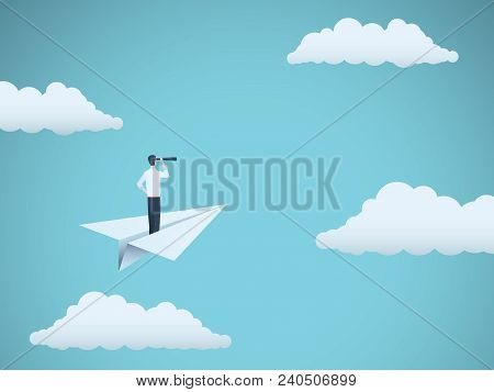 Business Vision Vector Concept With Businessman And Telescope On Paper Plane. Symbol Of Business, Le