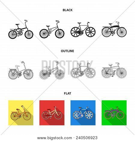 Children Bicycle And Other Kinds.different Bicycles Set Collection Icons In Black, Flat, Outline Sty